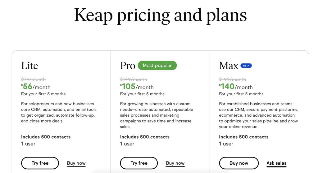 Keap Pricing