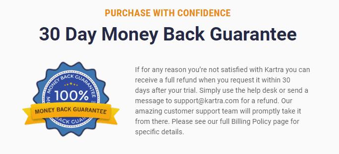 Kartra 30 day money back guarantee