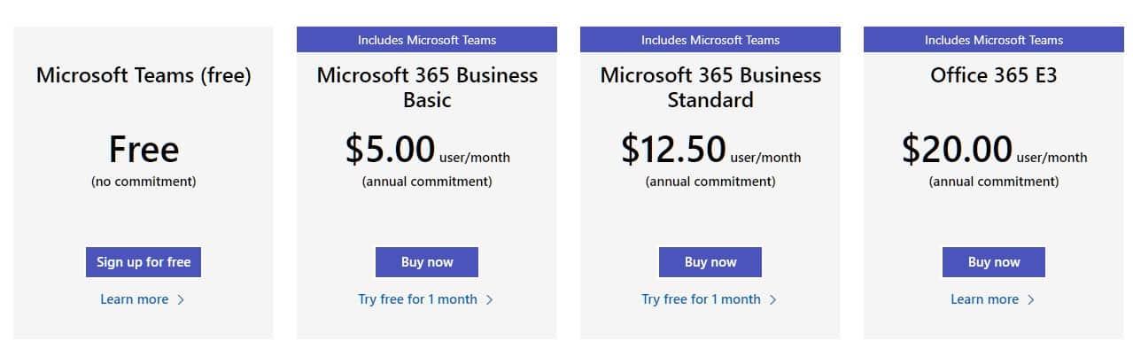 Microsoft Teams Pricing