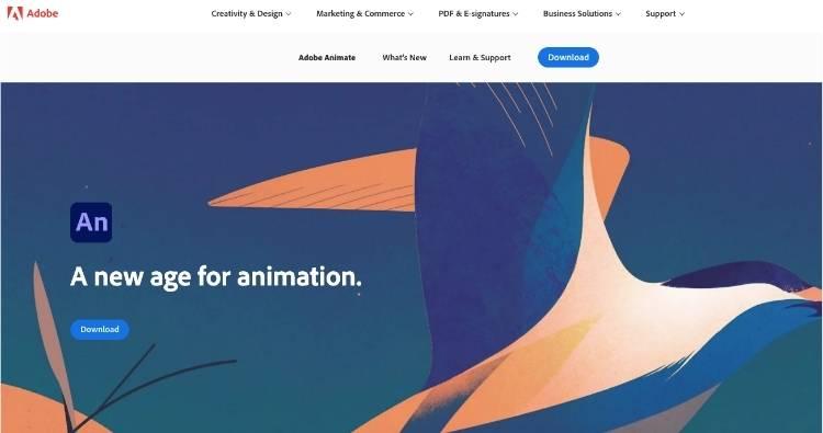 Adobe Animate Homepage