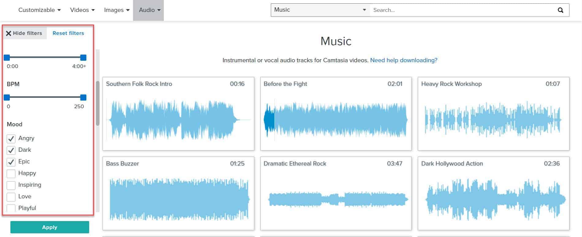 camtasia music filters