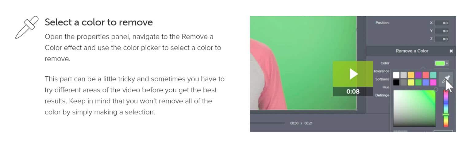 camtasia remove a color